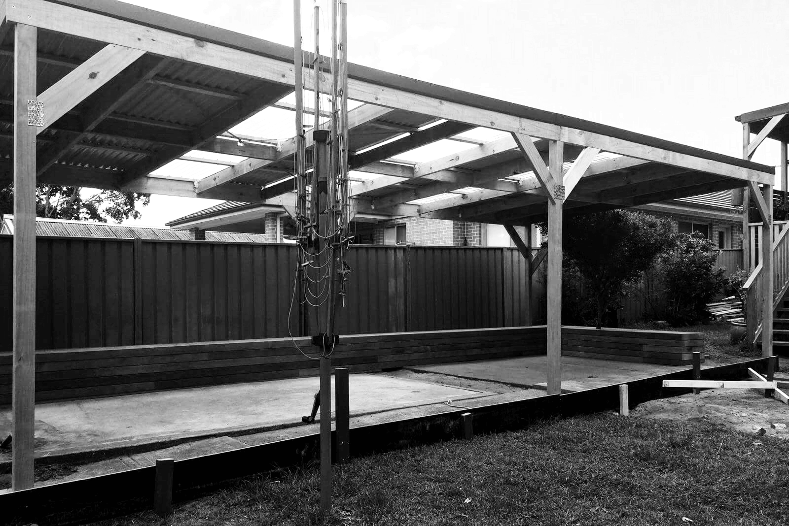 black and white pergola